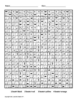 Note Values:  Rhythm Coloring Grid