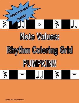 Note Values:  Rhythm Coloring Grid-Pumpkin!!