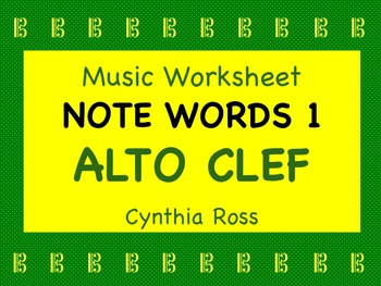 Note Words 1 for Alto Clef