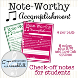 Note-Worthy Accomplishment Student Notes