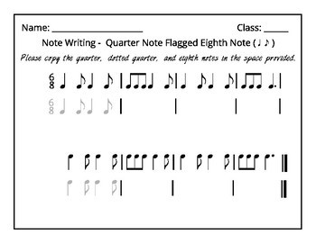 Note Writing Packet (Set 3) Quarter & Flagged Eighth Notes + Rubric &  Printables