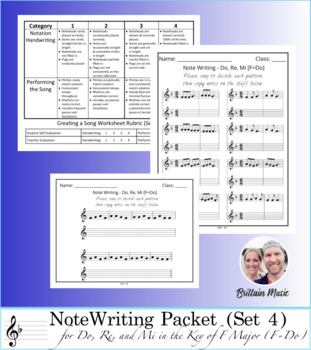 Note Writing Packet (Set 4)  + Do, Re, Mi in the Key of F - Rubric & Printables