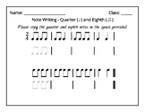 Note Writing Worksheet - Quarter Note and Eighth Notes