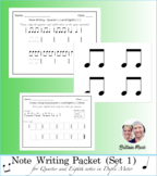 Note Writing Packet (Set 1) Quarter & Eighth Notes + Rubric & Printables