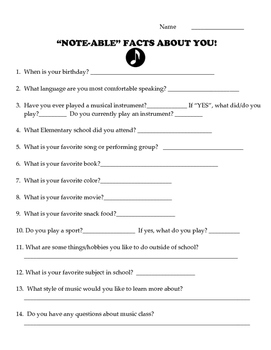 """Note-able"" Facts About You (Perfect for Back-to School!)"
