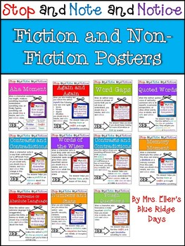 Note and Notice Fiction and Non-fiction Signpost Posters or Anchor Charts