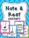 Music Note and Rest Posters - Chevron Brights