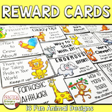 Reward Note Cards for Effort and Perseverance - Animal Theme