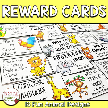 Reward Note Cards for Parent Contact - Animal Theme