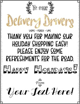 Free Editable Note for Delivery Driver Treats