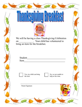 Note for Parent to Bring an Item for a Thanksgiving Breakfast