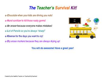 Note for Teacher's Survival Kit!