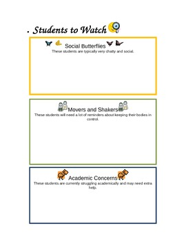 Note for the Substitute: Students to Watch