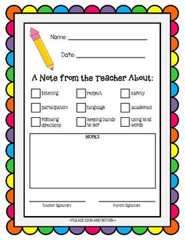 Note from the Teacher - Positive Communication Form