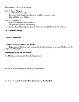 Note guide for 'Discovery, Inquisition, and Witchcraft' presentation