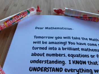 Note of Encouragement Before Math STAAR