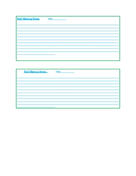 Note page for staff meetings