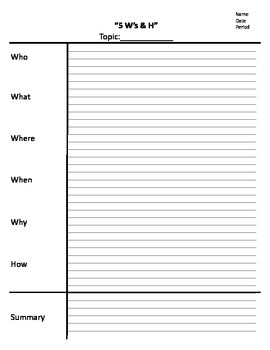 note sheet 5ws and h note taking cornell notes template