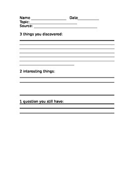 Note taking for primary grades