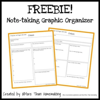 Note-taking Graphic Organizer - Chapter 44: Cakes