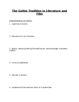 Note-taking Guide: Gothic Tradition in Literature and Film