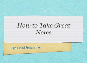 Note taking - High School Preparation