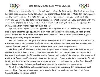 Note-taking:  Luge, Skeleton & Bobsled (Winter Olympics)