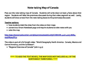 Note-taking Map of Canada