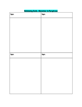Note-taking Organizer (Research, Brainstorming, Pre-Writing)