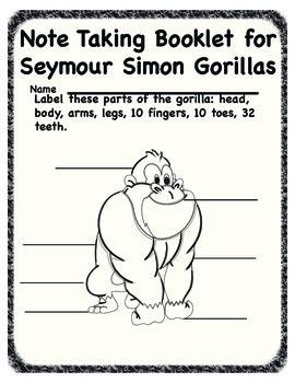 """Note taking booklet for Seymour Simons """"Gorillas"""""""