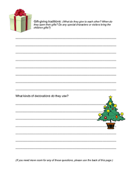 """Note-taking form for """"Christmas Around the World"""" project"""