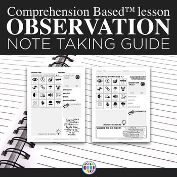 Note taking form for observations of Comprehension Based™ lessons