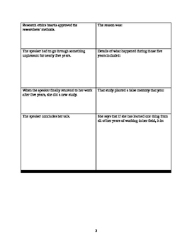 Note-taking worksheet #5: TED Talk topic