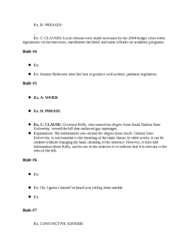 Note-taking worksheet for Comma Powerpoint Presentation