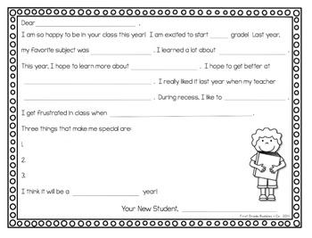 Note to Next Year's Teacher