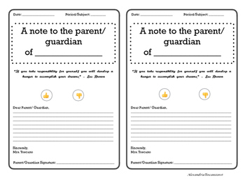 Note to Parent(s)/Guardian(s)