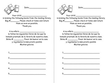 Note to Parents about Classroom Lending Library in English & Spanish