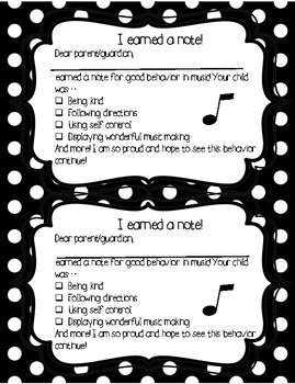 Note to Parents about Good Behavior in Music