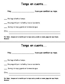 Note to Parents in English and Spanish About a Change of Clothes in School.