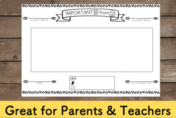 Note to Teachers from Home/Parents