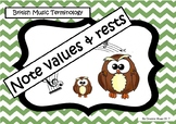 Note values and rests (British terminology) owl posters - colour coded frames