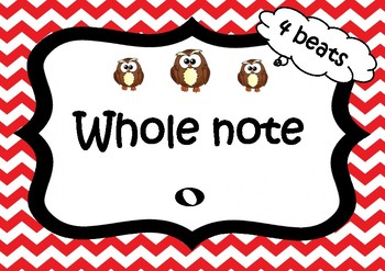 Note values and rests (American terminology) owl posters - colour coded frames
