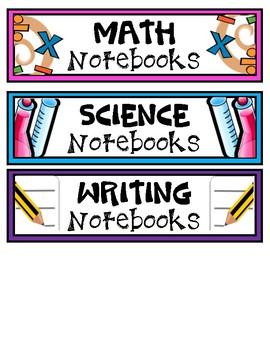 Notebook Bin Labels FREEBIE
