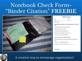 "Notebook Check Form-""Binder Citation"""