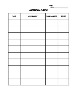 Notebook Check Grade Sheet