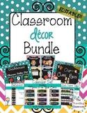 Chalkboard Chevron Polka Dot Theme Editable Classroom Decor Bundle