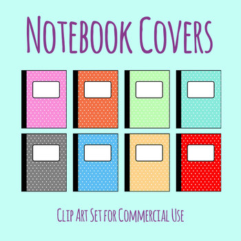 Notebook Covers or Journal Covers Clip Art Set for Commercial Use
