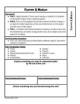 Interactive Notebook Unit Divider Page - Forces and Motion