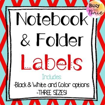 Notebook & Folder Labels