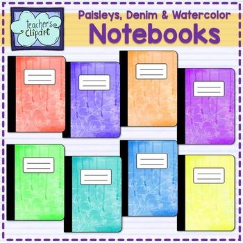 Notebook Covers - Clipart {Denim - Paisleys - Watercolor}